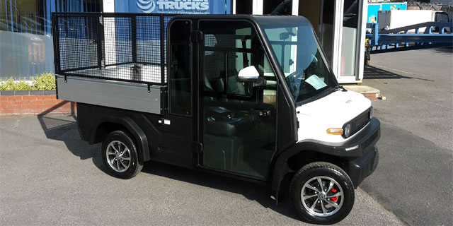 Black last mile delivery vehicle