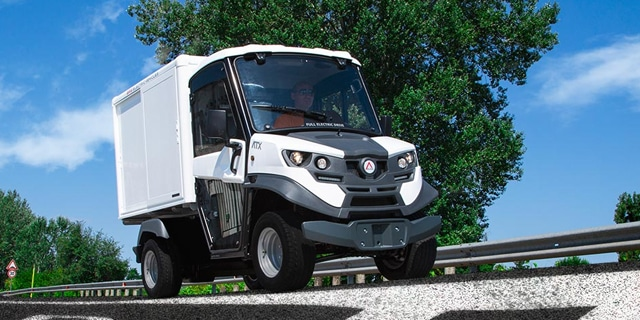 Electric Delivery Vehicle on road