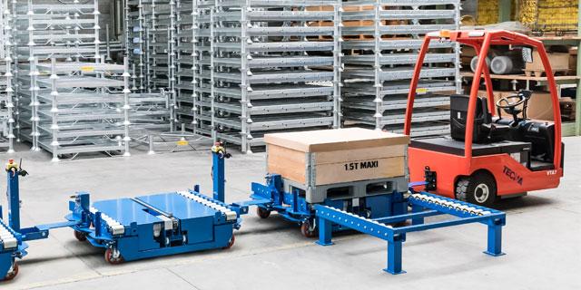 Industrial tug in warehouse