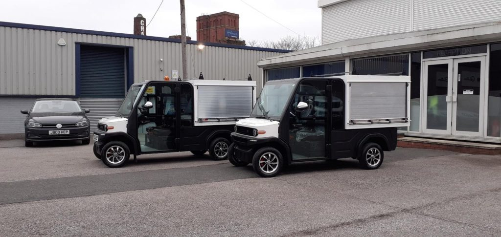 2 Fully Electric Tucks With Rear Can Boxes