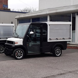 Black & White Electric Last Mile Delivery Vehicle With Metal Shutter