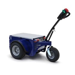 The blue Jobmaster HD electric pedestrian tug
