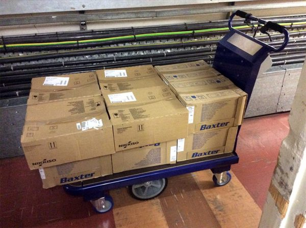 M 15 Electric Platform Truck With Stacks Of Boxes