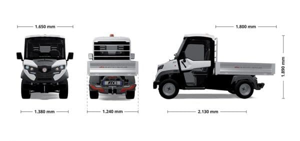 Alke ATX 320 E Electric Compact Utility Vehicle Dimensions graphic