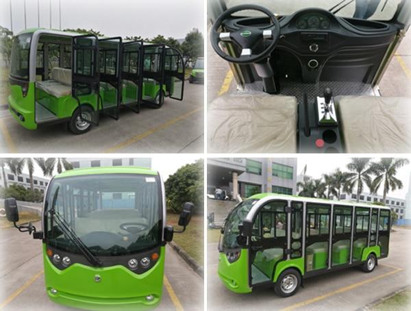 Green EP 14 Passenger Bus Multi Passenger Electric Vehicle four photo collage