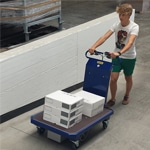 Person Using M 15 Electric Platform Truck To Transport Boxes