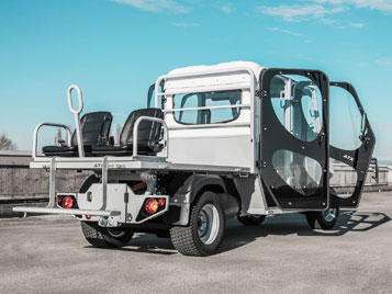 Back View Of Alke ATX 340 ED Double Cab Electric Utility Vehicle