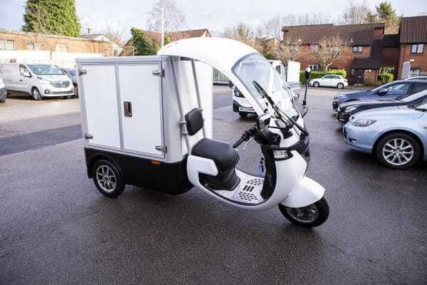 Electric Refrigerated Food Delivery Trike Front Side View