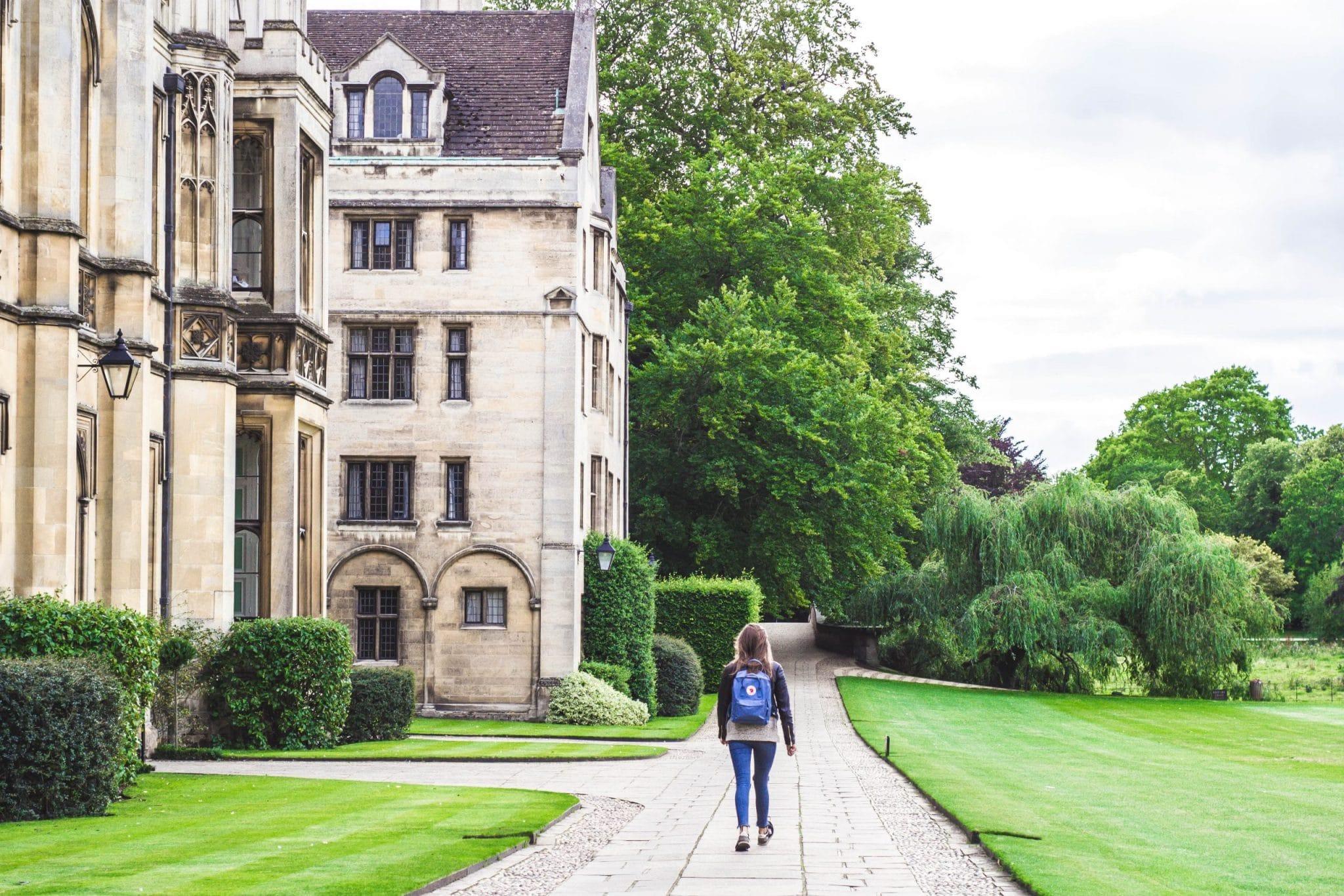 student walking on university campus