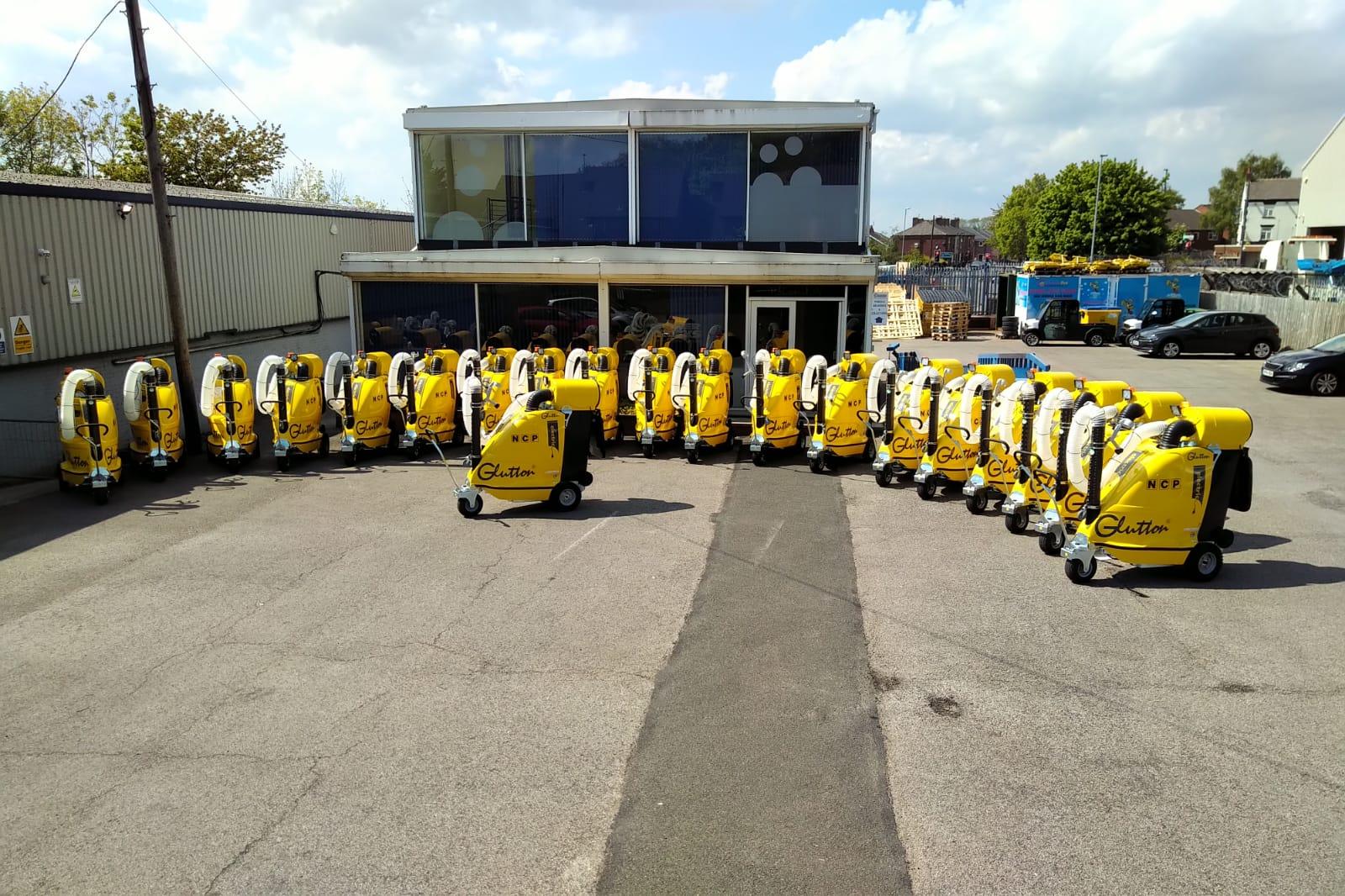 fleet of Glutton cleaning machines