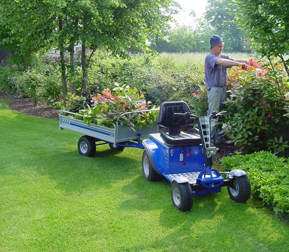 Gardener Using S1 Electric Ride On Tow Tug