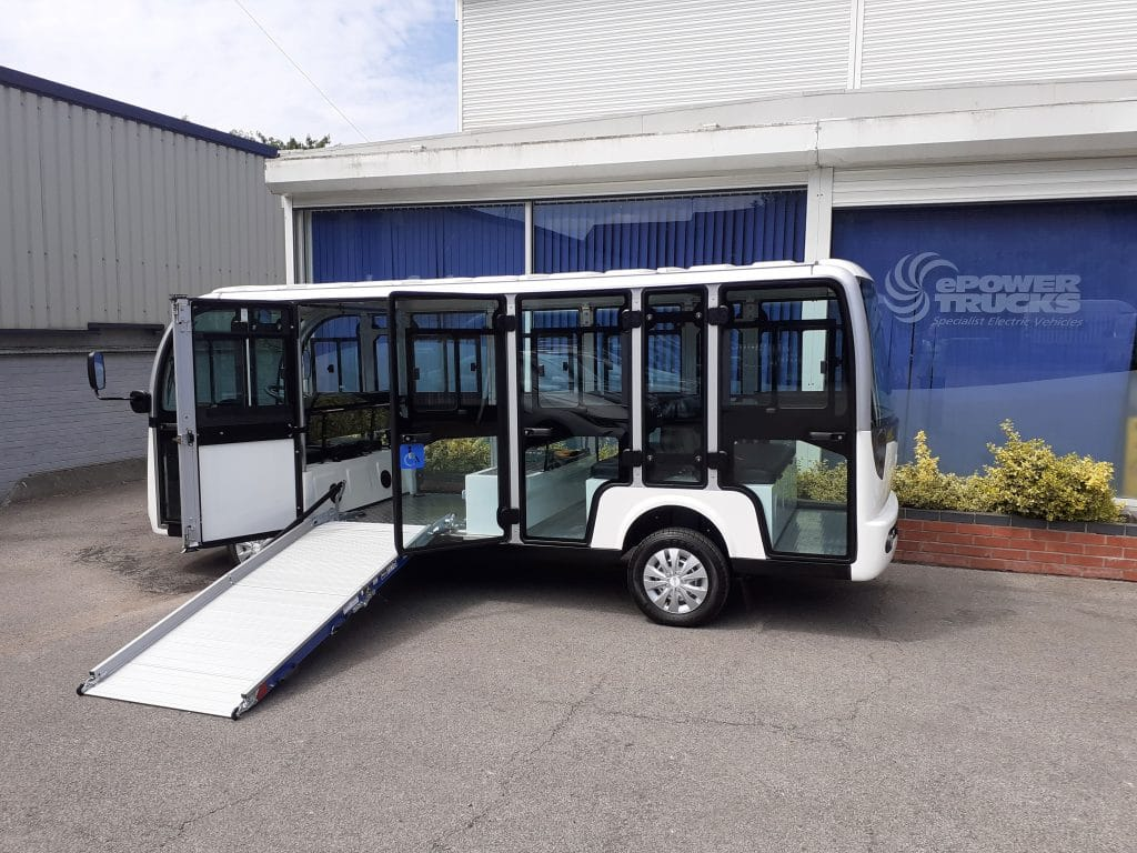 Electric Shuttle Bus With Ramp
