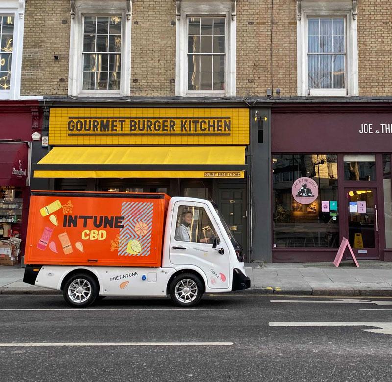 orange electric last mile delivery vehicle